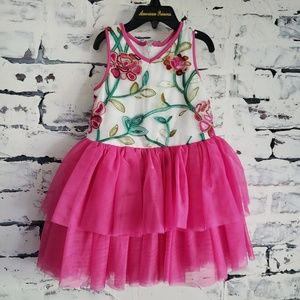 Pippa & Julie 3T Dress with Hot Pink Tulle Skirt